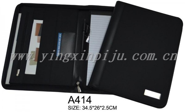 zip folio cheap folder with metal logo Fabrication Les fabricants, fournisseurs, exportateurs, grossistes