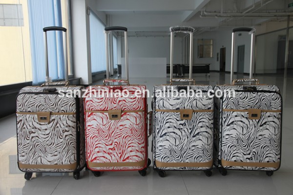 fashionable design PU travel trolley luggage, zebra pattern polo luggage set (1006) with universal w Fabrication Les fabricants, fournisseurs, exportateurs, grossistes