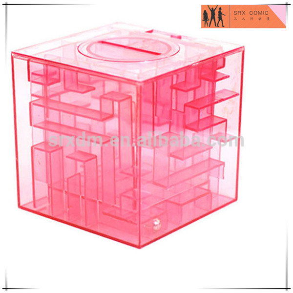 Custom made plastique labyrinthe en forme de tirelire, Made custom cube tirelire fabricant, Oem fabr Fabrication Les fabricants, fournisseurs, exportateurs, grossistes
