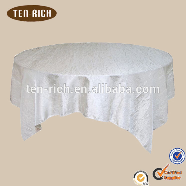 Blanc taffetas table overlay en stock Fabrication Les fabricants, fournisseurs, exportateurs, grossistes